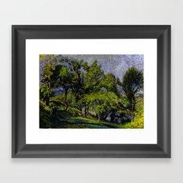 Chestnut Trees above a River Framed Art Print