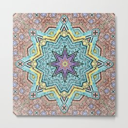 Shell Star Mandala Metal Print