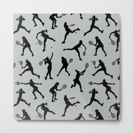 Tennis Players // Light Grey Metal Print