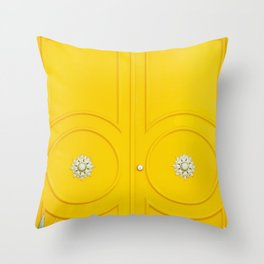 Yellow Door - Midcentury Modern Palm Springs Photography Throw Pillow