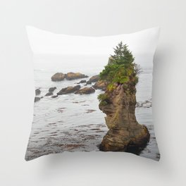 Cape Flattery Island Seastack Mist Misty Washington Olympic Peninsula Forest Pacific Ocean Throw Pillow