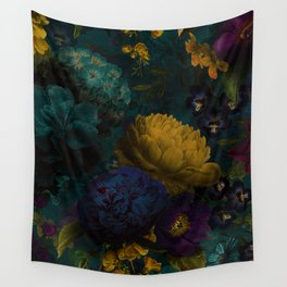 Before Midnight Blue Hour Vintage Flowers Garden Wall Tapestry