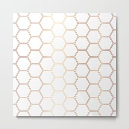 Geometric Honeycomb Pattern - Rose Gold #372 Metal Print