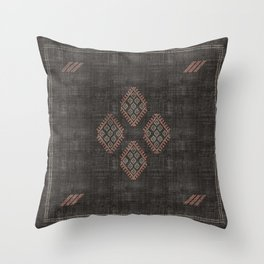 Kilim in Black and Pink Throw Pillow