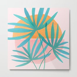 Retro Sunset Palms Metal Print