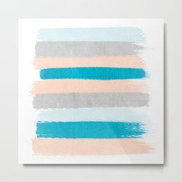 Painted stripes minimal bright summer palette boho striped decor minimalist Metal Print