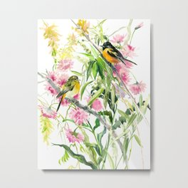 Baltimore Oriole and Garden Flowers Metal Print