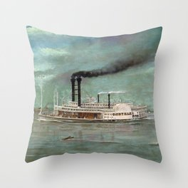 Steamboat Robert E. Lee Painting Throw Pillow