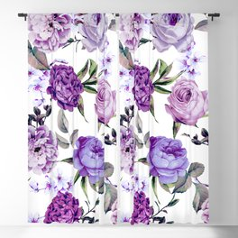 Elegant Girly Violet Lilac Purple Flowers Blackout Curtain