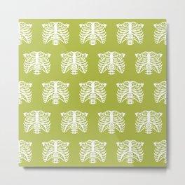 Human Rib Cage Pattern Chartreuse Green Metal Print