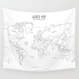 World Map minimal sketchy black and white Wall Tapestry