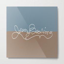 Jeremy Bearimy Blue Brown Color Block Metal Print