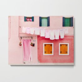 Laundry Day in Burano Italy Metal Print