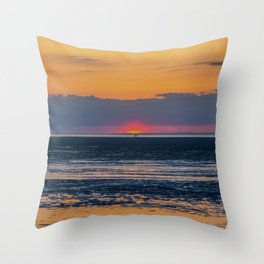 Orange and Navy Sunset, Chapin Beach Throw Pillow