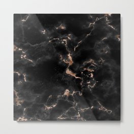 Chic abstract rose gold black elegant marble Metal Print