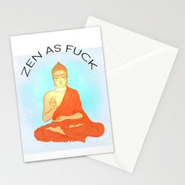 Zen As Fuck, Funny Quote, Buddha Wall Art, Meditation Art Stationery Cards