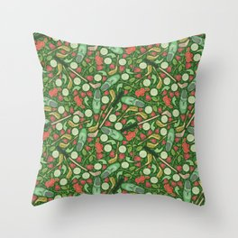 Golf shoes and clubs among red roses and balls Throw Pillow