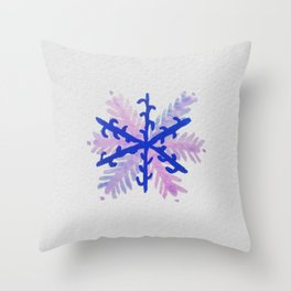 WATERCOLOR SNOWFLAKE 2 - blue and purple palette Throw Pillow