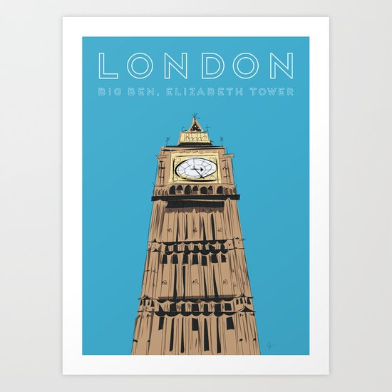 London Big Ben Travel Poster by carrielymandesigns