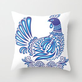 Abstract gzhel bird with ornament Throw Pillow