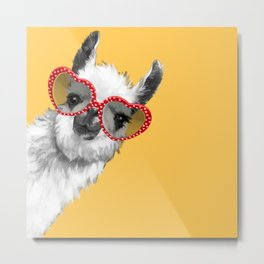 Fashion Hipster Llama with Glasses Metal Print