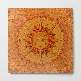 Apollo Sun God Yellow and Red Marble Metal Print