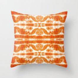 Orange Tie-Dye Twos Throw Pillow