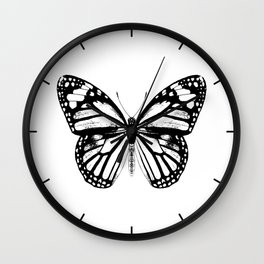 Monarch Butterfly | Vintage Butterfly | Black and White | Wall Clock