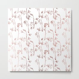 Trendy faux gold modern bamboo trees floral Metal Print