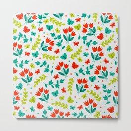 Easter Red Tulip Garden Pattern Metal Print