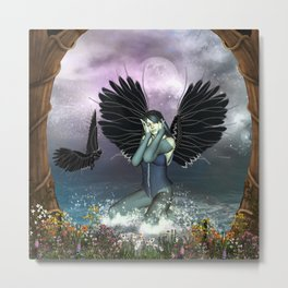Wonderful fairy with fantasy birds Metal Print