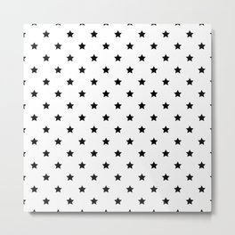Black and white Star Pattern Metal Print
