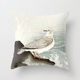 Seagulls at the beach - Vintage Japanese woodblock print Art Throw Pillow