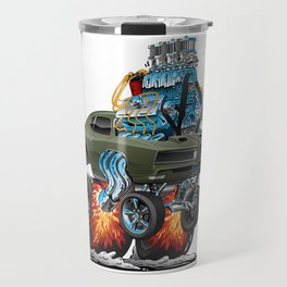 Classic American Muscle Car Hot Rod Cartoon Vector Illustration Travel Mug