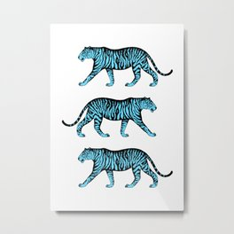 Tigers (White and Blue) Metal Print