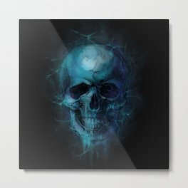 Blue Skull Watercolor Painting Blue Black Print Anatomical Art Medical Office Decor Doctor Gifts Metal Print