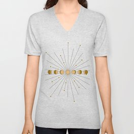 Moon Phases in gold with a starburst and dusty rose background Unisex V-Neck