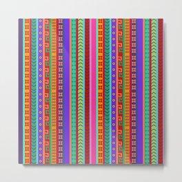 Ethnic Peruvian Motif Striped Pattern Metal Print
