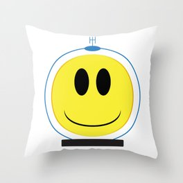 Spaceman Smile Face Button Isolated Throw Pillow