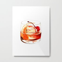Cocktails. Old Fashioned. Watercolor Painting. Metal Print