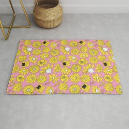 Flower Power Retro Pink and Yellow Floral Print Rug