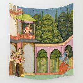 Krishna Approaches Radha - 17th Century Classical Hindu Art Wall Tapestry
