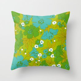 Green, Turquoise, and White Retro Flower Design Pattern Throw Pillow