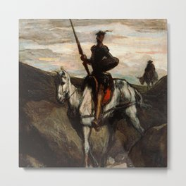 Honore Daumier - Don Quixote in the Mountains Metal Print