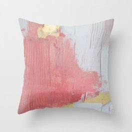 Melody: a pretty minimal abstract painting in gold pink and white by Alyssa Hamilton Art Throw Pillow