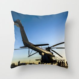Russian Search and rescue helicopters are seen as they prepare for the landing of the Soyuz TMA-20 s Throw Pillow