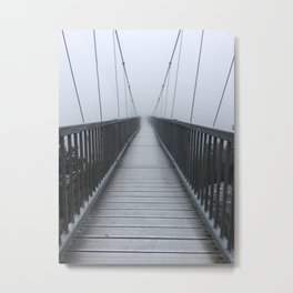 The Swinging Bridge in Fog on a Mountain Metal Print