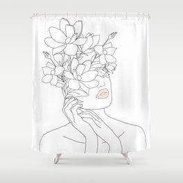 Minimal Line Art Woman with Magnolia Shower Curtain
