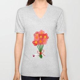 Pink Flower Bouquet for Valentines Day Unisex V-Neck