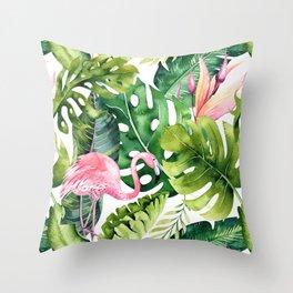 Flamingo Tropical || #pattern #tropical Throw Pillow